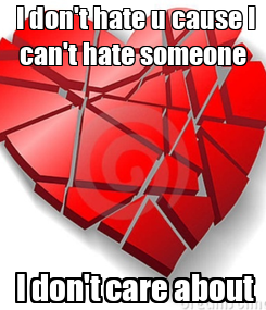 Poster:  I don't hate u cause I can't hate someone  I don't care about