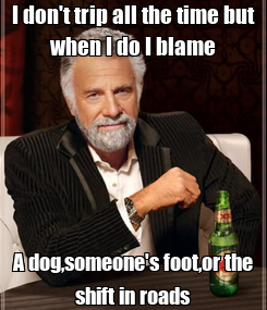 Poster: I don't trip all the time but when I do I blame A dog,someone's foot,or the shift in roads
