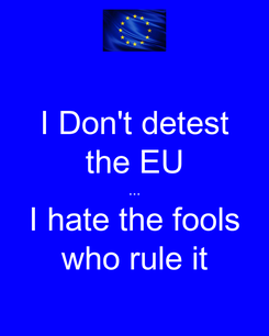 Poster: I Don't detest the EU ... I hate the fools who rule it