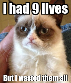 Poster: I had 9 lives But I wasted them all
