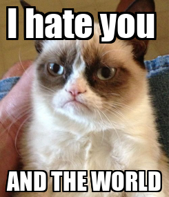 Poster: I hate you  AND THE WORLD