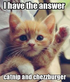 Poster: I have the answer  catnip and chezzburger