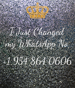 Poster: I Just Changed my WhatsApp No  +1 954 864 0606