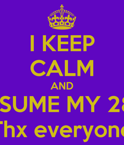Poster: I KEEP CALM AND ASSUME MY 28th Thx everyone