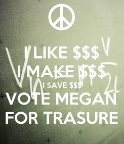 Poster: I LIKE $$$ I MAKE $$$ I SAVE $$$ VOTE MEGAN FOR TRASURE