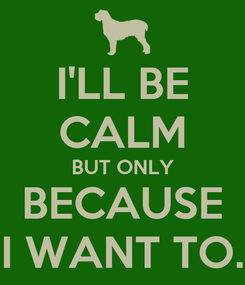 Poster: I'LL BE CALM BUT ONLY BECAUSE I WANT TO.