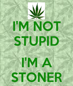 Poster: I'M NOT STUPID  I'M A STONER