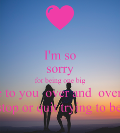 Poster: I'm so sorry for being one big asshole to you  over and  over again. i love you baby and i will never ever stop or quit trying to be the man you love everyday of your li
