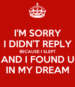 Poster: I'M SORRY I DIDN'T REPLY BECAUSE I SLEPT AND I FOUND U IN MY DREAM