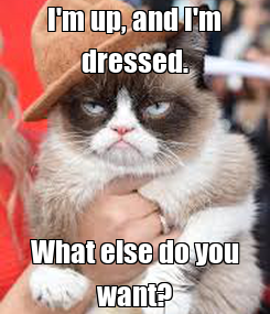 Poster: I'm up, and I'm dressed. What else do you want?