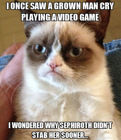 Poster: I ONCE SAW A GROWN MAN CRY PLAYING A VIDEO GAME I WONDERED WHY SEPHIROTH DIDN'T STAB HER SOONER...
