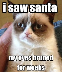Poster: i saw santa  my eyes bruned for weeks