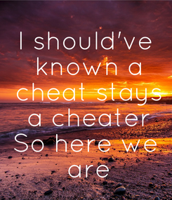 Poster: I should've  known a  cheat stays  a cheater So here we  are
