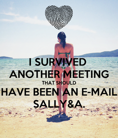 Poster: I SURVIVED  ANOTHER MEETING THAT SHOULD HAVE BEEN AN E-MAIL SALLY&A.