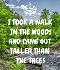 Poster: I TOOK A WALK  IN THE WOODS AND CAME OUT TALLER THAN  THE TREES