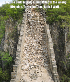 Poster: I Tried To Build A Bridge. Built It But, In the Wrong Direction. Turns Out That I Built A Wall.