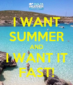 Poster: I WANT SUMMER AND I WANT IT FAST!