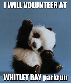 Poster: I WILL VOLUNTEER AT WHITLEY BAY parkrun