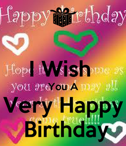 Poster:  I Wish  You A Very Happy  Birthday