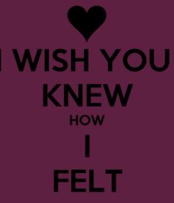 Poster: I WISH YOU  KNEW HOW I FELT