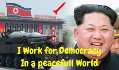 Poster:    I Work for Democracy In a peacefull World