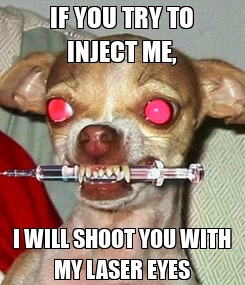 Poster: IF YOU TRY TO INJECT ME, I WILL SHOOT YOU WITH MY LASER EYES