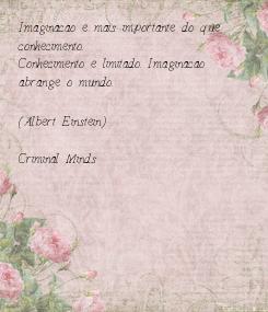 Poster: Imaginacao e mais importante do que conhecimento.  Conhecimento e limitado. Imaginacao abrange o mundo.  (Albert Einstein)  Criminal Minds