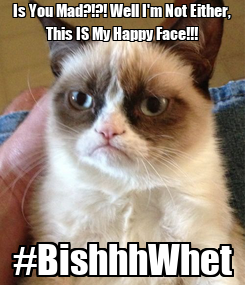 Poster: Is You Mad?!?! Well I'm Not Either, This IS My Happy Face!!! #BishhhWhet