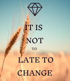Poster: IT IS  NOT TO   LATE TO CHANGE