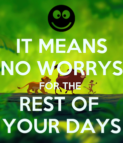 Poster: IT MEANS NO WORRYS FOR THE  REST OF  YOUR DAYS