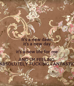 Poster: It's a new dawn it's a new day it's a new life for me AND I'M FEELING  ABSOLUTELY FUCKING FANTASTIC