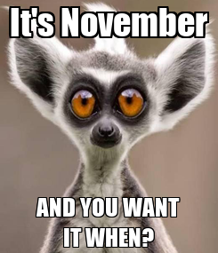 Poster: It's November AND YOU WANT IT WHEN?