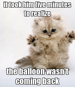 Poster: it took him five minutes to realize the balloon wasn't coming back