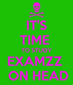 Poster: IT'S TIME  TO STUDY EXAMZZ   ON HEAD