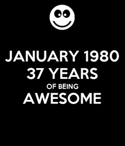 Poster: JANUARY 1980 37 YEARS OF BEING AWESOME