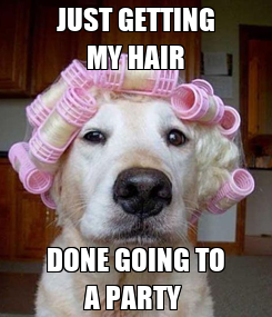 Poster: JUST GETTING MY HAIR DONE GOING TO A PARTY