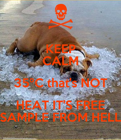 Poster: KEEP CALM 35ºC that's NOT HEAT IT'S FREE SAMPLE FROM HELL