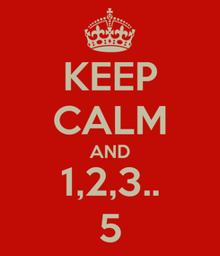 Poster: KEEP CALM AND 1,2,3.. 5