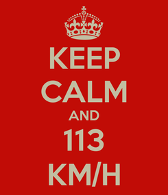 Poster: KEEP CALM AND 113 KM/H