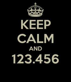 Poster: KEEP CALM AND 123.456
