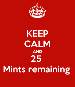 Poster: KEEP CALM AND 25  Mints remaining
