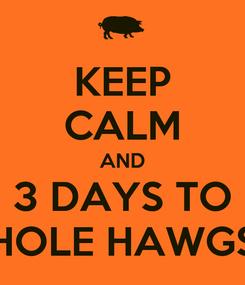 Poster: KEEP CALM AND 3 DAYS TO HOLE HAWGS