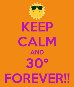 Poster: KEEP CALM AND 30° FOREVER!!