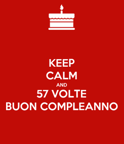 Poster: KEEP CALM AND 57 VOLTE BUON COMPLEANNO