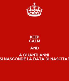 Poster: KEEP CALM AND A QUANTI ANNI  SI NASCONDE LA DATA DI NASCITA?