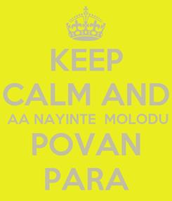 Poster: KEEP CALM AND  AA NAYINTE  MOLODU POVAN PARA