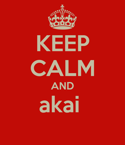 Poster: KEEP CALM AND akai