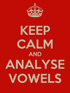 Poster: KEEP CALM AND ANALYSE VOWELS
