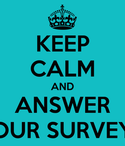 Poster: KEEP CALM AND ANSWER OUR SURVEY