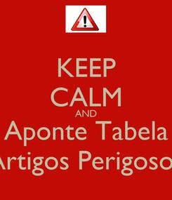 Poster: KEEP CALM AND Aponte Tabela Artigos Perigosos